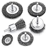 TILAX Drill Wire Brush End Brush Set 6 Piece, Wire Brushes for Cleaning 1/4 Inch Arbor 0.012 inch Coarse Carbon Steel Crimping Wire Wheel, Paint-Surface and Small Spaces Can be Treated.
