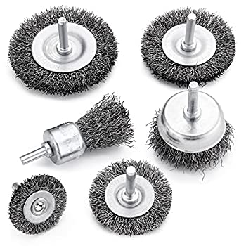 TILAX Drill Wire Brush End Brush Set 6 Piece Wire Brushes for Cleaning 1/4 Inch Arbor 0.012 inch Coarse Carbon Steel Crimping Wire Wheel Paint-Surface and Small Spaces Can be Treated.