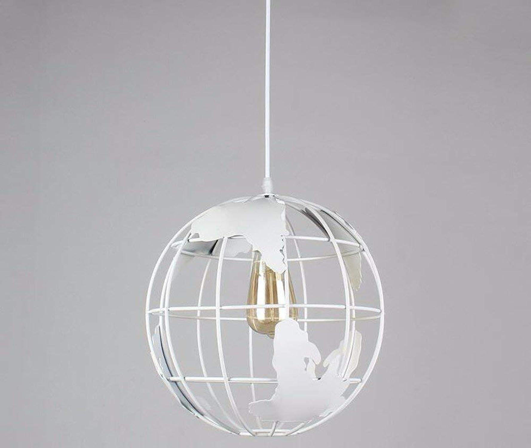 YT-ER Pendentif Lumière Pendentif Lampe Lustre Restaurant Bar Lampe de Bureau Globe Personnalité Fer Art Blanc Diameter30Cm111