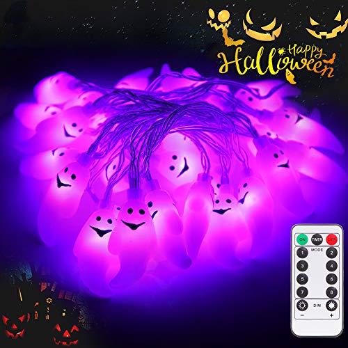 lichterkette lunsy 30LED halloween lichterketter mit Fernbedienung Wasserdicht UV Geist für Außen Weihnachten Halloween Party Park Fest Deko …