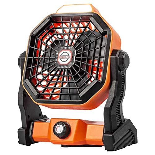 Ventilador de mesa 2 en 1 con luz LED, rotación de 270°, ventilador silencioso de 7800 mA con batería ajustable, velocidad de camping