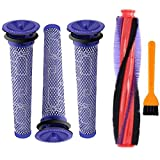 Nordun 185 mm Cepillo de rodillo y Filtro para aspiradora Dyson V6/DC59/DC62/SV03/SV073 Series aspiradoras,Barra de Cepillo Filtri Recambio para Dyson (185 mm cepillo de rodillo+3 piezas filtro)