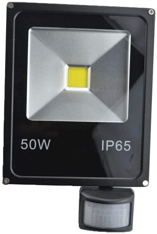 Foco LED de 50 W, sensor PIR, luz blanca cálida, para jardín, resistente al agua