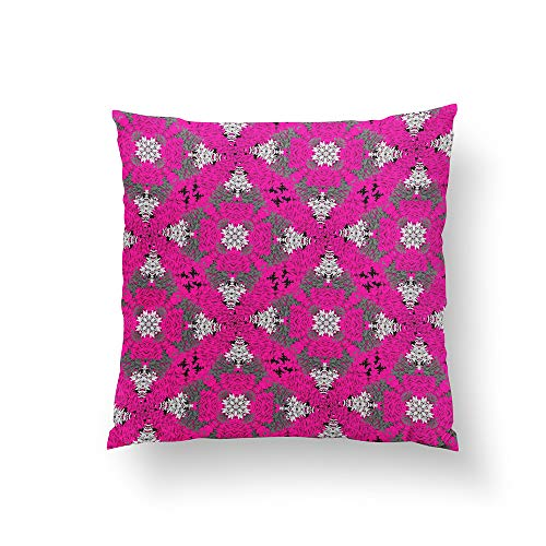Cerise Pink Grey Mix Modern Floral Damask Print Throw Pillow Pillowcase Pillow Cushion Cover Cases Single Side 16x16