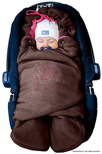 """ByBoom - Baby Winter-Einschlagdecke\""""Das Original mit dem Bären\"""", Universal für Babyschale, Autositz, z.B. für Maxi-Cosi, Römer, für Kinderwagen, Buggy oder Babybett, Farbe:Braun/Fuchsia"""