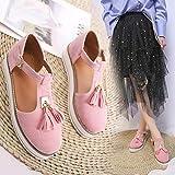XXXZZL Sandalias de Mujer Tacón de Cuña Plataforma Verano Cuero Confort Baotou Borla Hebilla Sandalias Sandalias Hebillas para Mujer,Rosado,43EU