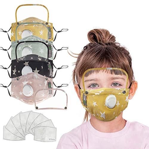 Skang Infantil 4xProtector Facial Tela con Válvulas de Respiración y Gafas Protectoras+8pcs...