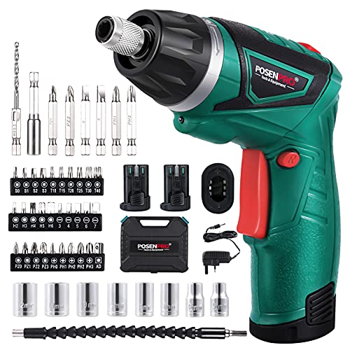 POSENPRO 9N.m Cordless Electric Screwdriver-with 48 Accessories BMC Set,2Pcs Rechargeable 7.2V 1500mAh Li-ion Batteries,6+1 Torque Gears,Adjustable 2 Position Handle,and a Built-in LED Light