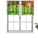 Hiiiman Cenefas de cortina con bolsillo para barra, diseño de juego de mesa, diseño de camino a la seta, juego de 2, 42 x 36 pulgadas, aislamiento térmico para sala de estar