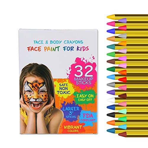Twister.CK 32PCS Pastelli per Pittura per Il Viso per Bambini, Colori da 3,2 Pollici Pastelli per Trucco per Pittura del Viso e del Corpo, Ottimo per Halloween Festa di Compleanno Festa di Compleanno