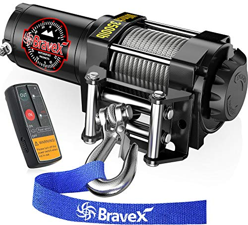 Bravex Electric 12V 3500lb/1591kg Single Line Waterproof Winch for UTV ATV Boat with Both Wireless Handheld Remote and Corded Control Recovery Winch