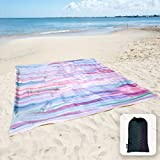 Sunlit Silky Soft 85'x72' Sand Proof Beach Blanket Sand Proof Mat with Corner Pockets and Mesh Bag for Beach Party, Travel, Camping and Outdoor Music Festival, Watercolor Painting Macaron Blue