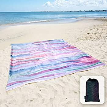Sunlit Silky Soft 85 x72  Sand Proof Beach Blanket Sand Proof Mat with Corner Pockets and Mesh Bag for Beach Party Travel Camping and Outdoor Music Festival Watercolor Painting Macaron Blue