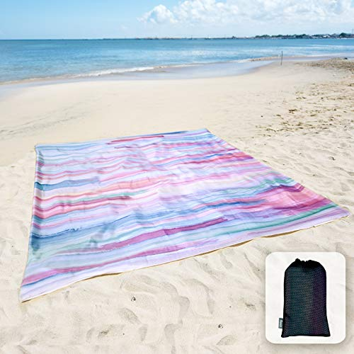 """Sunlit Silky Soft 85""""x72"""" Sand Proof Beach Blanket Sand Proof Mat with Corner Pockets and Mesh Bag for Beach Party, Travel, Camping and Outdoor Music Festival, Watercolor Painting Macaron Blue"""