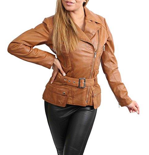 Damen Lederjacke Tailliert Hüfte Länge Taille Gürtel Biker Style Celia Hellbraun (XXL (44))