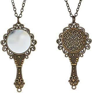 قلادة قديمة الطراز مرآة قلادة مجوهرات فيكتورية قوطية عتيقة