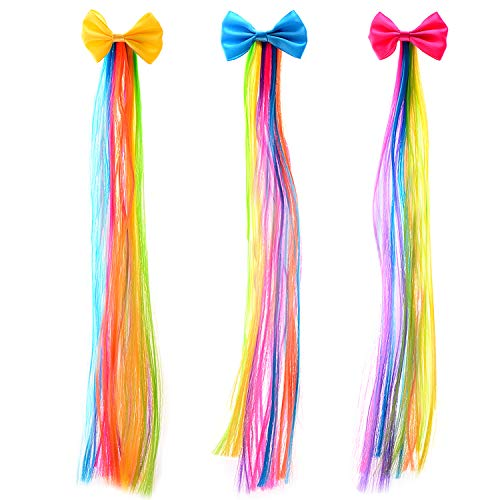 Bevan Cute Bow With Rainbow Wigs Barrettes For Girls Teens Toddlers Kids Party Birthday Celebrations,Mixed 3 Colors (F0004-1)