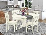 East West Furniture Kitchen Set, 5 Pieces, Linen White