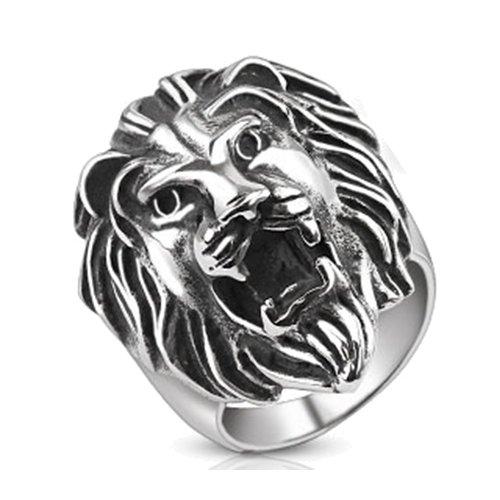 Anello in acciaio inox a forma di leone ruggente BlackAmazement abasi Lion viennagold Biker argento uomo