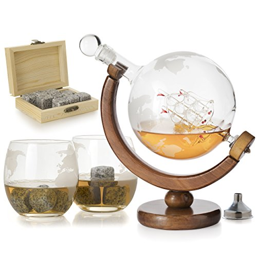 The Wine Savant Etched World Globe Decanter For Whiskey or Wine With Antique Ship And Matching Globe Glasses  (Mahogany Stained Wood With 2 Globe Glasses)