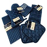 Kitchen Towel Set with 2 Quilted Pot Holders, Oven Mitt, Dish Towel, Dish Drying Mat, 2 Mi...
