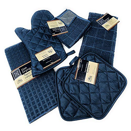 Kitchen Towel Set with 2 Quilted Pot Holders, Oven Mitt, Dish Towel, Dish Drying Mat, 2 Microfiber Scrubbing Dishcloths (Navy Blue)