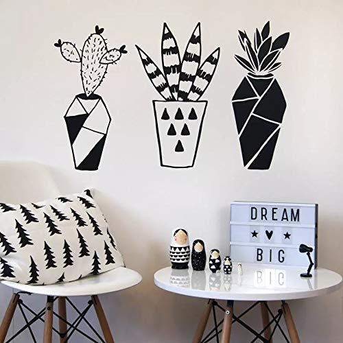 Calcomanía geométrica de Cactus para pared, arte de planta, Mural, puerta, ventana, vinilo, pegatina para niños, dormitorio, oficina, guardería, decoración interior, papel tapiz