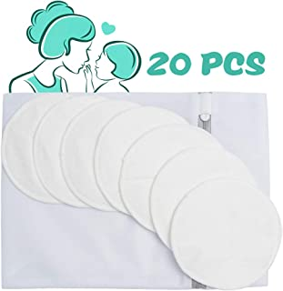 Organic Bamboo Nursing Pads (20 Pack),  Organic Breastfeeding Pads,  Super Absorbent,  Leak Proof,  Washable & Reusable Nursing Pads + Laundry Bag