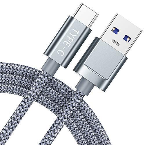 Snowkids USB C Cable (USB 3.0), USB A to USB C Charger (2-Pack 6.6ft) Nylon Braided Fast Charging Cord Compatible with Samsung Galaxy Note 9 S9 S8 Note 8, LG V30 G6 G5, Pixel, Nintendo Switch (Grey)