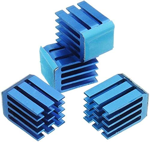 FORETTY DIANLU43 Black or Blue 4PCS TMC2100 Stepper Motor Driver Cooling Heatsink with Back Glue for 3D Printer (Color : Blue) Industrial Stable Performance