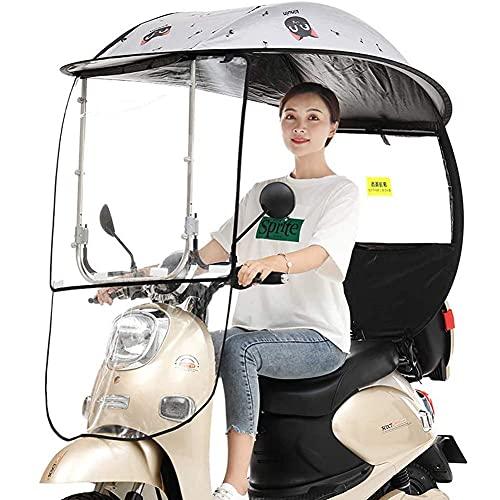 Sombrilla eléctrica para Bicicleta, Protector para Lluvia, sombrilla Universal para Scooter de Motor para automóvil, sombrilla para Movilidad, con Parabrisas de PVC, Negro, A