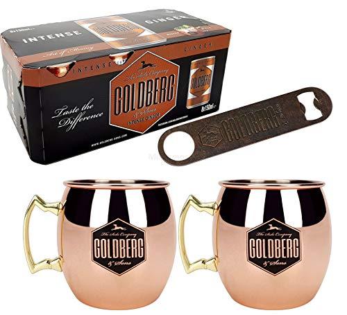 Goldberg Bar Set - 8X Goldberg Intense Ginger 150ml inkl. Pfand EINWEG + Flaschenöffner in Rost Optik + 2X Mule Becher