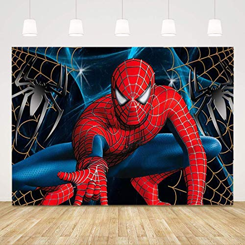 Superman Red Spiderman Theme Photo Background Spider Web Superhero Boys Baby Shower Birthday Party Backdrops for Photography Kids Bedroom Wallper Decor Studio Props 7x5ft
