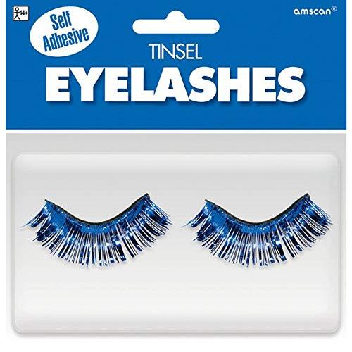 Amscan 397281.22 Non Toxic Self Adhesive Tinsel False Eyelashes, Blue
