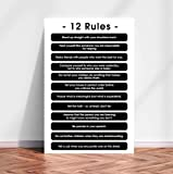 12 Rules for Life Poster, 12 Principles,Teacher Gift Quote Wall Art Decor Poster Print Education Life - Fall Decor for Home (Multi-Color, Large 24in x 36in)