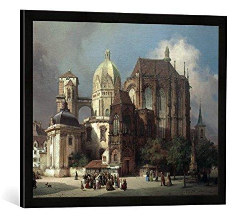 Gerahmtes Bild von Michael Neher Aachen, Münster/Michael Neher, Kunstdruck im hochwertigen handgefertigten Bilder-Rahmen, 70x50 cm, Schwarz matt