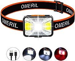 OMERIL Stirnlampe LED Wiederaufladbar USB Kopflampe Stirnlampe Kinder, Sehr hell, wasserdichte Mini Stirnlampe Rotlicht...