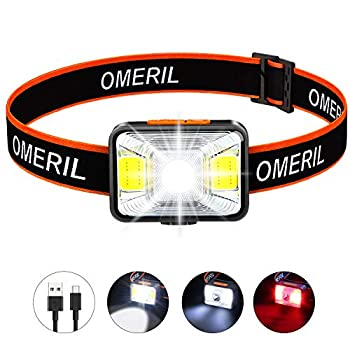 OMERIL Rechargeable Headlamp 2.5H Quick Charge LED Hiking Headlamp Flashlight with 200 Lumen 5 Modes White Red Light IPX5 Waterproof Camping Headlamp for Running Cycling Fishing Kids and Adults