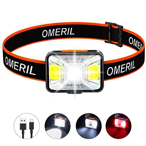 OMERIL Lampe Frontale LED USB...