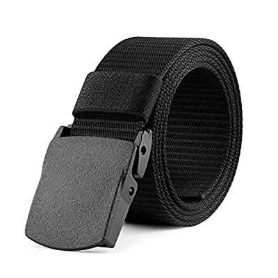 JASGOOD Nylon Canvas Breathable Military Tactical Men Waist Belt With Plastic Buckle(Suit for pant size below 45Inch,05-Black B)