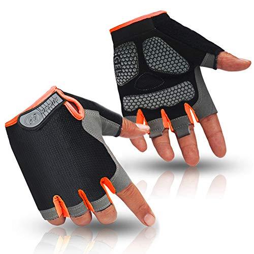 HuwaiH Cycling Gloves Men's/Women's Mountain Bike Gloves Half Finger Biking Gloves Anti Slip Shock Absorbing Gel Pad Breathable Cycle Gloves (Black Orange, Small)