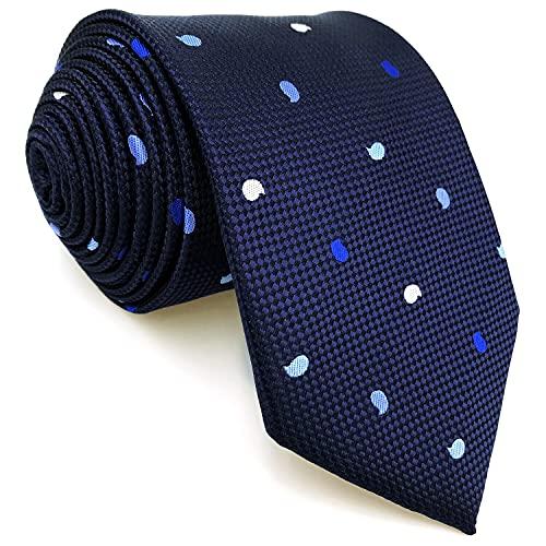 S&W SHLAX&WING Corbatas para hombre Azul marino Conjunto de corbata Paisley Corbata de tamaño clásico
