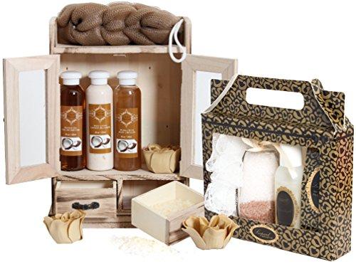 BRUBAKER Set da bagno Wellness SPA in piccolo cabinet di legno da 15 pezzi - Noce di cocco e Vaniglia - Confezione regalo