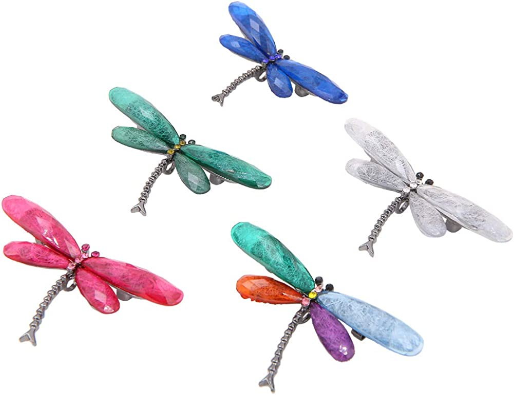 Set of latest 5 Multicolor Long Beach Mall Dragonfly Brooch Insect Alloy Cr Pin Flying