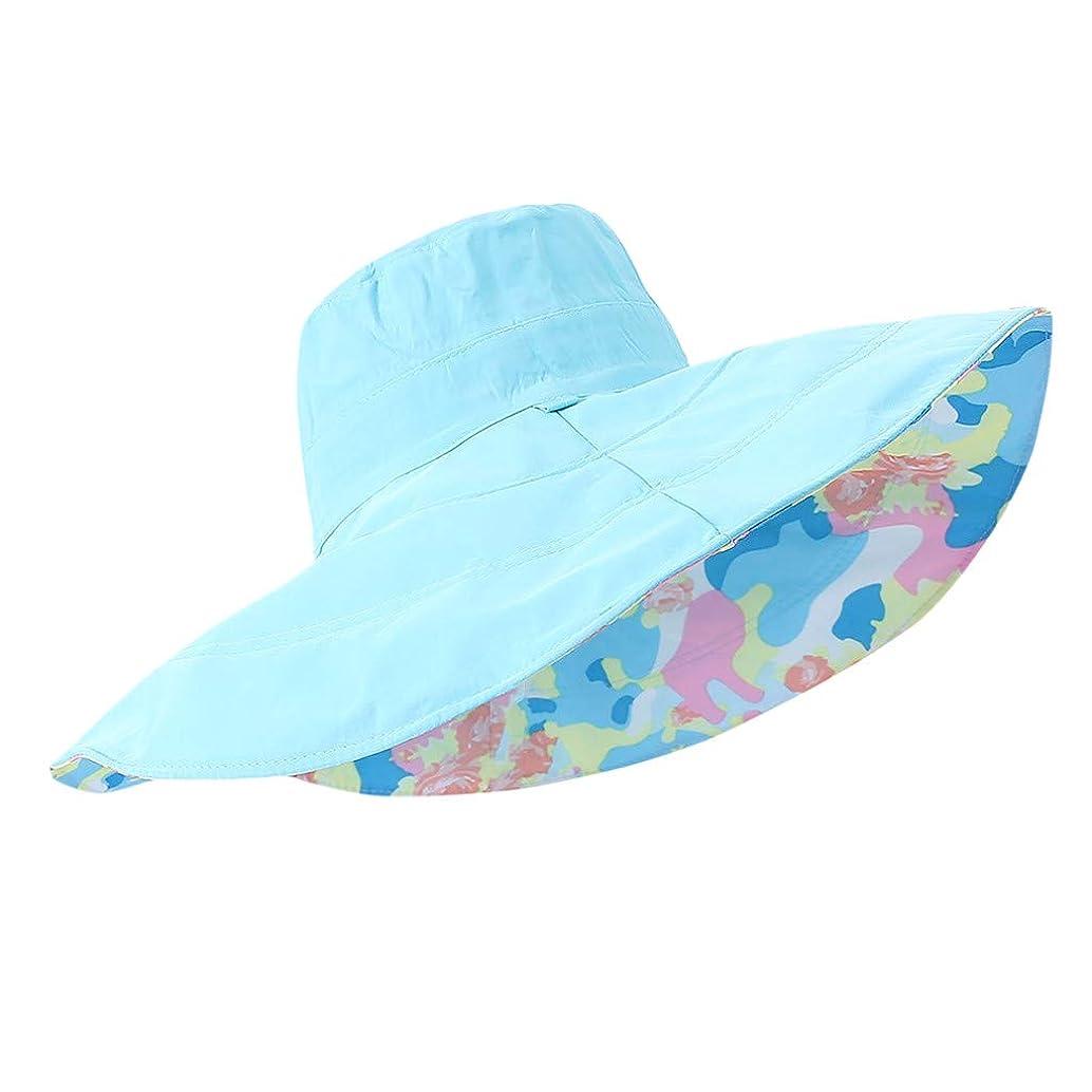 Gallity Ladies Wear Double Foldable Sunscreen Beach Sun Hat Adjustable Print Summer Seaside Wide-Brimned Cap