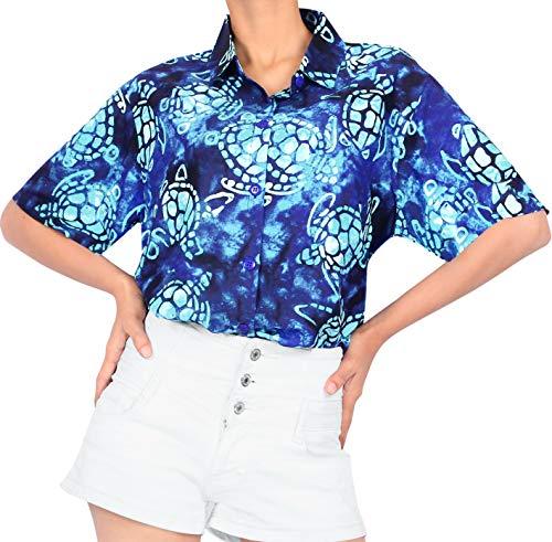HAPPY BAY 3D HD Frauen Hawaiihemd Bademoden Partei beiläufiger klassischer regelmäßiger Sommer Aloha XXL - DE Größe :- 50-54 Navy blau_AA143