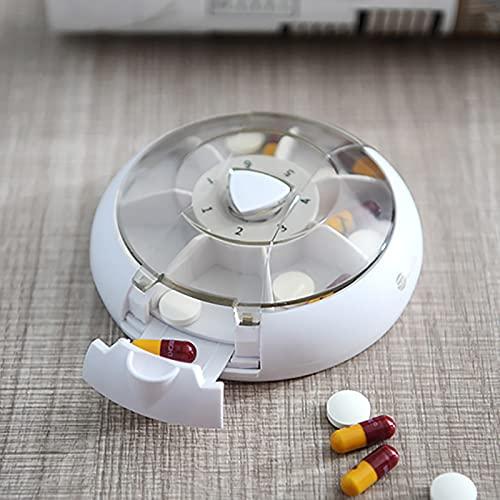 Caja de Pastillas con 7 Rejillas en una rotación, pulsador de píldoras giratorias, Caja de píldoras portátil, Mini píldora portátil, diseño de Siete cuadrículas, Caja de píldoras de la (Blanco)