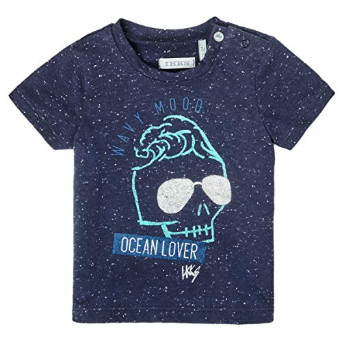 IKKS tee-Shirt Navy tête de Mort portant Des lunettes de Soleil Camiseta, Azul, 3 Mes para Bebés