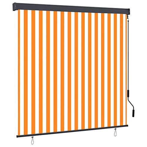 vidaXL Außenrollo Handkurbelmechanismus Balkonrollo Senkrechtmarkise Sichtschutz Beschattung Sonnenschutz Außen Rollo Balkon 170x250cm Weiß Orange