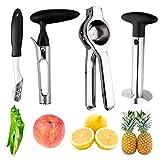 Pineapple Corer Peeler Slicer Cutter, Lemon Press Squeezer Manual Juicer, Apple Corer Remover and Jalapeno Pepper Corer Remover, yamesu 4-piece Set Bundle Kitchen Gadget Tools
